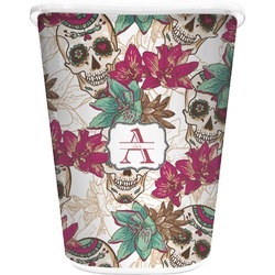 Sugar Skulls & Flowers Waste Basket - Double Sided (White) (Personalized)