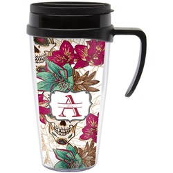 Sugar Skulls & Flowers Travel Mug with Handle (Personalized)