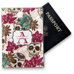 Sugar Skulls & Flowers Vinyl Passport Holder (Personalized)