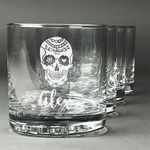 Sugar Skulls & Flowers Whiskey Glasses (Set of 4) (Personalized)