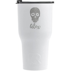 Sugar Skulls & Flowers RTIC Tumbler - White - Engraved Front (Personalized)