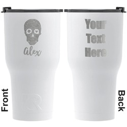 Sugar Skulls & Flowers RTIC Tumbler - White - Engraved Front & Back (Personalized)
