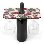 Sugar Skulls & Flowers Wine Bottle & Glass Holder (Personalized)