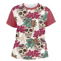 Sugar Skulls & Flowers Women's Crew T-Shirt (Personalized)