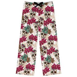 Sugar Skulls & Flowers Womens Pajama Pants - XL (Personalized)
