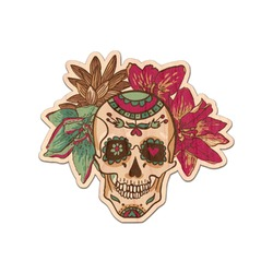Sugar Skulls & Flowers Genuine Maple or Cherry Wood Sticker (Personalized)