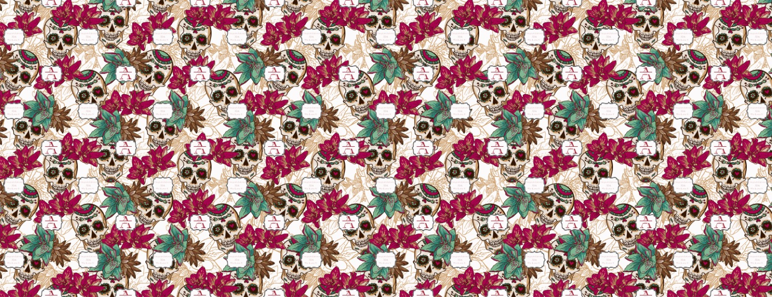 Sugar Skulls Flowers Wrapping Paper Personalized Youcustomizeit