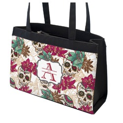 Sugar Skulls & Flowers Zippered Everyday Tote (Personalized)