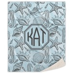 Sea-blue Seashells Sherpa Throw Blanket (Personalized)