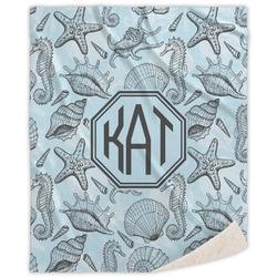 Sea-blue Seashells Sherpa Throw Blanket (Personalized)
