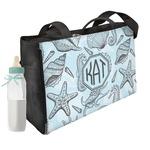 Sea-blue Seashells Diaper Bag w/ Monogram