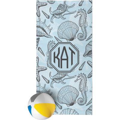 Sea-blue Seashells Beach Towel (Personalized)