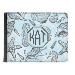 Sea-blue Seashells Genuine Leather Men's Bi-fold Wallet (Personalized)