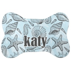 Sea-blue Seashells Bone Shaped Dog Food Mat (Personalized)