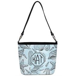 Sea-blue Seashells Bucket Bag w/ Genuine Leather Trim (Personalized)