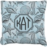 Sea-blue Seashells Faux-Linen Throw Pillow (Personalized)