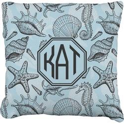 Sea-blue Seashells Faux-Linen Throw Pillow (Personalized)