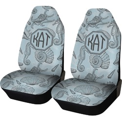 Sea-blue Seashells Car Seat Covers (Set of Two) (Personalized)