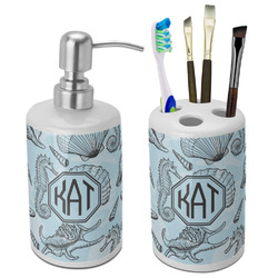 Sea-blue Seashells Ceramic Bathroom Accessories Set (Personalized)