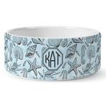 Sea-blue Seashells Ceramic Dog Bowl (Personalized)