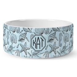 Sea-blue Seashells Ceramic Pet Bowl (Personalized)