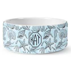 Sea-blue Seashells Ceramic Pet Bowl (Personalized)