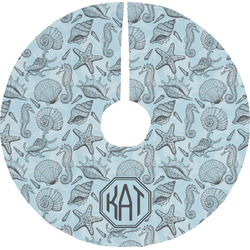 Sea-blue Seashells Tree Skirt (Personalized)