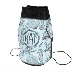 Sea-blue Seashells Neoprene Drawstring Backpack (Personalized)