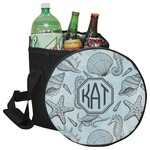 Sea-blue Seashells Collapsible Cooler & Seat (Personalized)