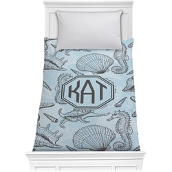 Sea-blue Seashells Comforter - Twin (Personalized)