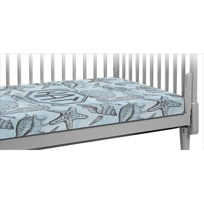 Sea-blue Seashells Crib Fitted Sheet (Personalized)