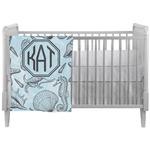 Sea-blue Seashells Crib Comforter / Quilt (Personalized)