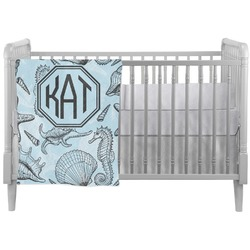 Sea-blue Seashells Crib Comforter / Quilt (Personalized)