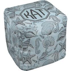 Sea-blue Seashells Cube Pouf Ottoman (Personalized)