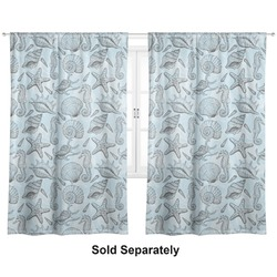 "Sea-blue Seashells Curtains - 20""x54"" Panels - Lined (2 Panels Per Set) (Personalized)"