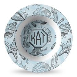 Sea-blue Seashells Plastic Bowl - Microwave Safe - Composite Polymer (Personalized)