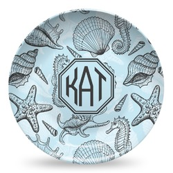 Sea-blue Seashells Microwave Safe Plastic Plate - Composite Polymer (Personalized)