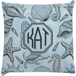 Sea-blue Seashells Decorative Pillow Case (Personalized)