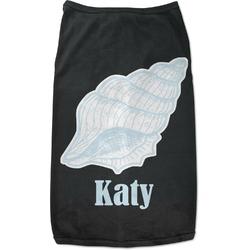 Sea-blue Seashells Black Pet Shirt - XL (Personalized)