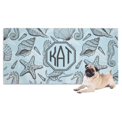 Sea-blue Seashells Dog Towel (Personalized)