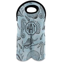 Sea-blue Seashells Wine Tote Bag (2 Bottles) (Personalized)