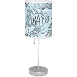 """Sea-blue Seashells 7"""" Drum Lamp with Shade Polyester (Personalized)"""