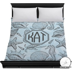 Sea-blue Seashells Duvet Cover (Personalized)