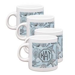Sea-blue Seashells Espresso Mugs - Set of 4 (Personalized)