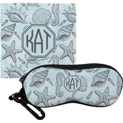 Sea-blue Seashells Eyeglass Case & Cloth (Personalized)