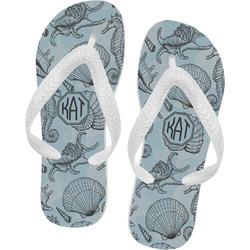 Sea-blue Seashells Flip Flops (Personalized)