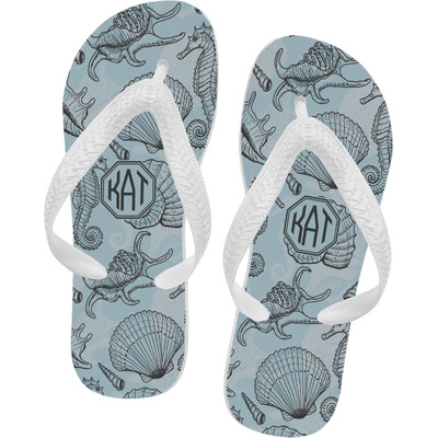Sea-blue Seashells Flip Flops - XSmall (Personalized)