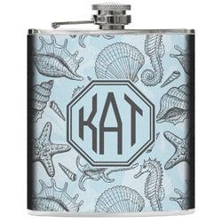 Sea-blue Seashells Genuine Leather Flask (Personalized)