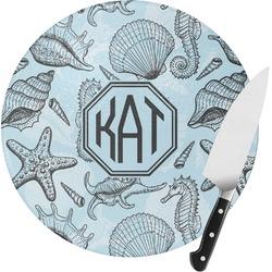Sea-blue Seashells Round Glass Cutting Board (Personalized)