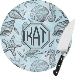 Sea-blue Seashells Round Glass Cutting Board (Personalized)